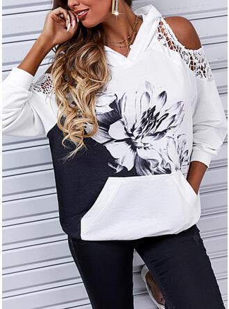Print Floral Lace Cold Shoulder Long Sleeves Hoodie