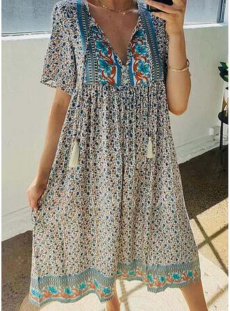 Print/Floral Short Sleeves Shift Tunic Casual/Boho/Vacation Midi Dresses