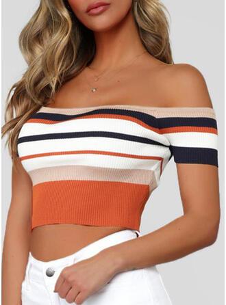 Color Block Off the Shoulder Short Sleeves T-shirts