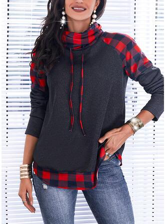 Christmas Color Block Plaid High Neck Long Sleeves Sweatshirt