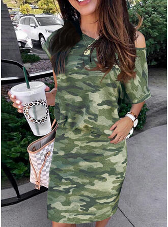 Print/Camouflage Short Sleeves Bodycon Above Knee Casual Dresses