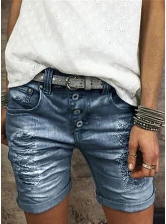 Shirred Skinny Vintage Shorts Denim & Jeans
