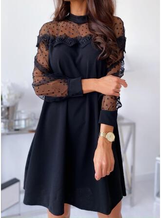 Lace/Solid/PolkaDot Long Sleeves Shift Above Knee Little Black/Elegant Dresses