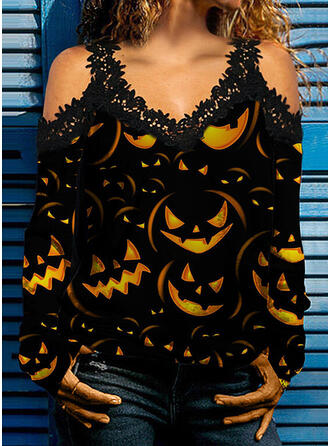 Halloween Print Lace Cold Shoulder Long Sleeves Cold Shoulder Sleeve Casual Blouses