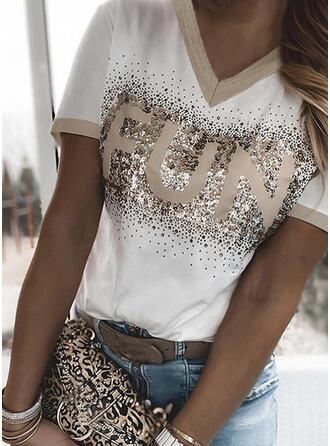 Print Sequins Letter V-Neck Short Sleeves T-shirts