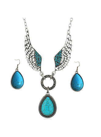 Unique Stylish Pretty Alloy Turquoise With Wings Women's Ladies' Girl's Necklaces Earrings 3 PCS
