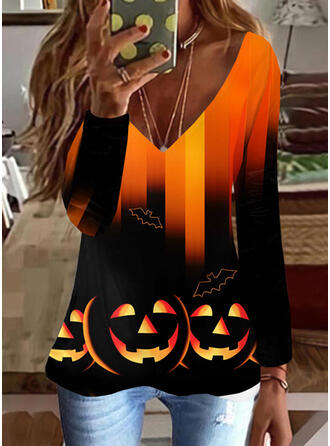 Halloween Gradient Print Animal V-Neck Long Sleeves T-shirts