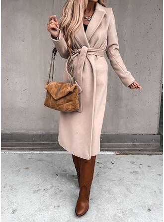 Long Sleeves Solid Slim Fit Coats