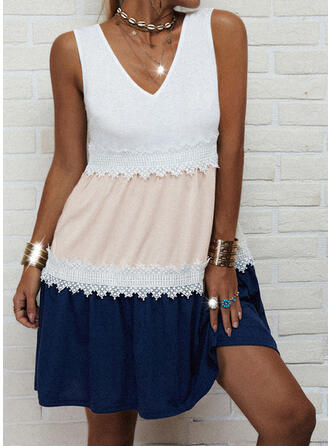 Lace/Color Block Sleeveless A-line Above Knee Casual Skater Dresses