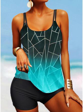 Stripe Splice color Strap U-Neck Boho Tankinis Swimsuits