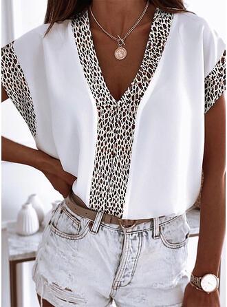 Leopard V-Neck Short Sleeves T-shirts