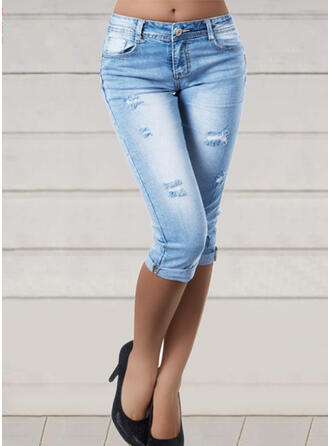 Shirred Plus Size Ripped Sexy Plain Denim & Jeans