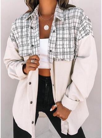 Long Sleeves Color Block Plaid Jackets