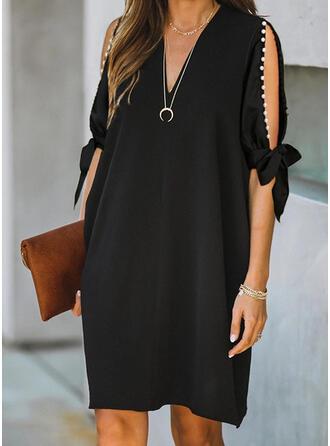 Solid/Beaded 1/2 Sleeves/Split Sleeve Shift Knee Length Little Black/Elegant Dresses