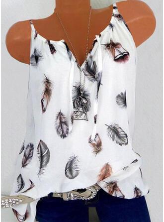 Print Feather V-Neck Sleeveless Tank Tops
