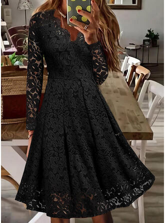Solid Lace Long Sleeves A-line Skater Little Black/Casual Midi Dresses