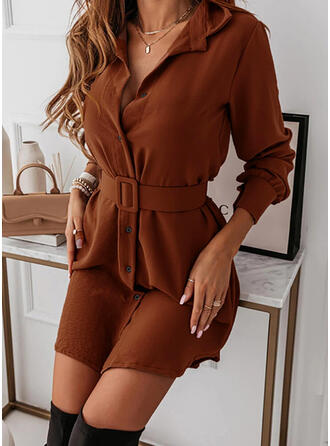 Solid Long Sleeves Asymmetrical Above Knee Casual Shirt Dresses
